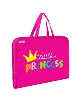 Папка - портфель на молнии с тканевыми ручками «Little Princess»