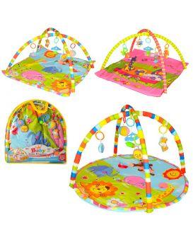 Коврик для младенца 83x83 см, дуга 2 шт., подвески 5 шт, в ассортименте, в сумке 57х58х7 см
