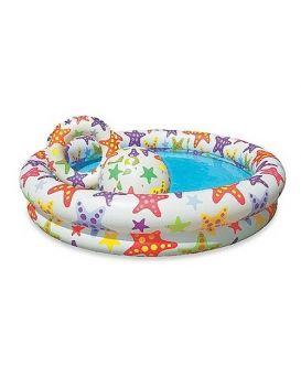 Бассейн надувной детский «Круг» с набором, 2 кольца, цветной, 122х25 см