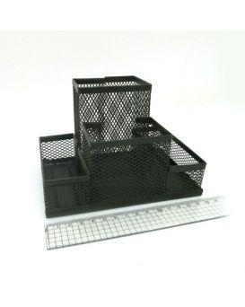 Органайзер настольный металлический 10х15 см «Сетка» 4 отделения, черный.