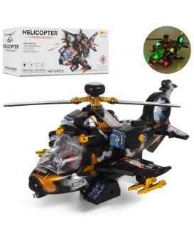 Вертолет 27 см, на батарейке, звук, свет, ездит, в коробке 27,5х10,5х12 см