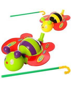 Каталочка «Бабочка» на палке 40см, 21см, двигает крыльями, звук, в ассортименте, в пакете 21х12х10см