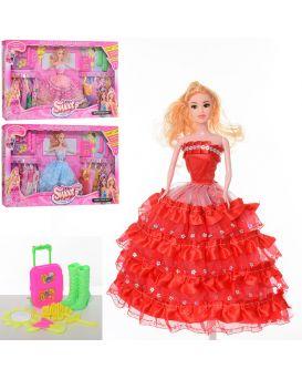 Кукла 28 см с нарядом, платья, обувь, чемодан, аксессуары, в ассортименте, в коробке 62,5х33х6 см