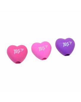 Ластик - насадка на карандаш «Heart» 3 цвета в упаковке, YES