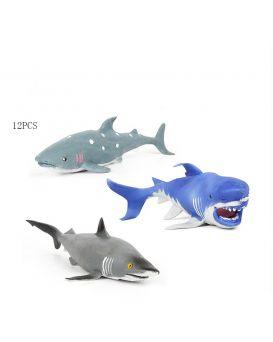 Акула резиновая, в ассортименте, 12 шт. в дисплей боксе