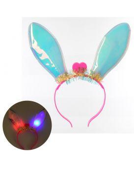 Аксессуары для праздника обруч для волос, ушки, свет, батарейки-таблетки, в пакете 24х25х2 см