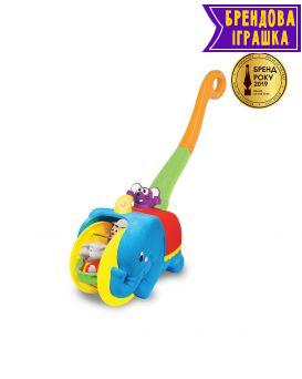 Игрушка каталка «Слон Циркач» на батарейке, свет, озвучка на украинском языке