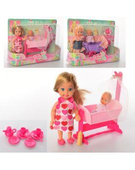 Кукла 12 см, пупс 6 см, коляска, кровать, в ассортименте, в коробке 22х16х6 см
