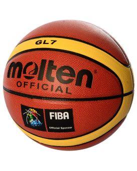 Мяч баскетбольный размер 7, ПВХ, 1 мм, 12 панелей, 580х600 гр, ламинированный, в пакете