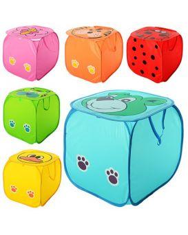 Корзина для игрушек «Животные» 45 см, крыша застегивается на липучке, в ассортименте, в пакете 45х45