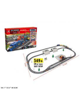Железная дорога «Power Train» на батарейке, длина 549 см, 53 деталей, в коробке 59,7х40,5х10 см
