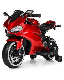 Мотоцикл 2 мотора 25W, 1 аккумулятор 12V7AH, MP3, TF, USB, свет, кожа EVA, красный