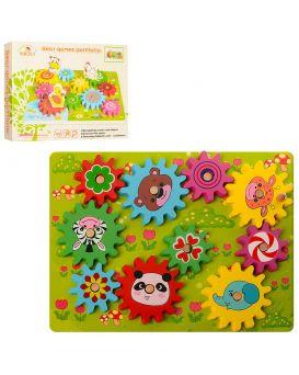 Деревянная игрушка «Игра» 30 см, шестерни, 10 шт., в коробке 31х23х3,5 см