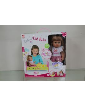 Кроватка с куклой и аксессуарами, в коробке 36,5х13х39,5 см