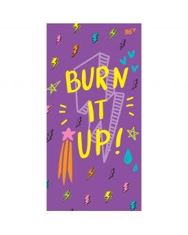 Блокнот 10х20 см, 64 л., в клетку, обл. неон + матовая лам. + софт тач, 7БЦ «Burn it up!» ТМ YES