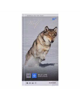 Блокнот 10х20 см, 64 л., в клетку, обложка лам. + серебряная фольга + УФ лак, 7БЦ «Wild force» YES