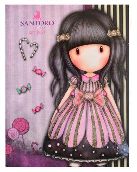 Блокнот А5 64 л., в клетку, обложка интег. + выбор. УФ лак + глиттер «Santoro Candy» ТМ YES