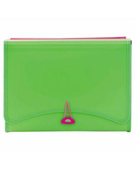 Папка 260 х 138 см с файлами, 13 отделов, 2 кармана, неоново - зеленая, L6142