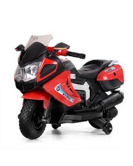 Мотоцикл 2 мотора 25W, 2 акумулятора 6V/4,5 AH, SD, кожаное сидение, колеса EVA, красный, 99х45х54