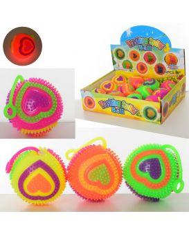 Мяч массажный пищалка 7 см, на бат., свет, звук, в ассортименте, 12 шт. в дисплей боксе 31х23,5х8см