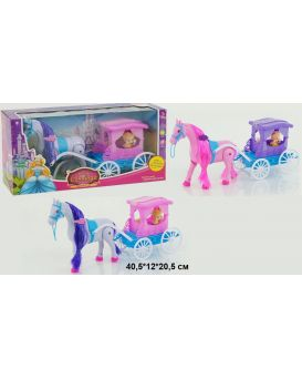 Карета на батарейке с конем, музыка, ходит, куколка, в коробке 40х11х21 см