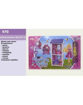 Домик 2-х этажный с мебелью, техникой, куколкой и аксессуарами, в коробке 58х37х12 см