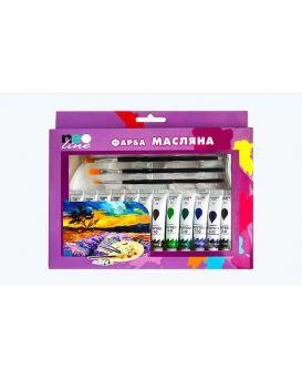 Краска масляная в тюбиках 12 цветов по 12 мл + 4 кисточки, пластиковая палитра, ТМ Neo Line