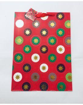 Пакет подарочный, бумажный с фольгой 31 х 42 х 19 см «Новогодний»