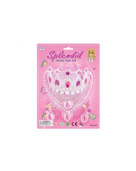 Аксессуары для девочек, корона, ожерелье, клипсы, в ассортименте, на планшетке 20х28х7 см