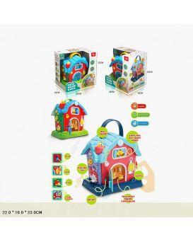 Игрушка сортер «Домик» на батарейке, звуки животных, песни, на англ. языке, в коробке 22х16х23 см