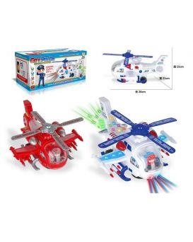 Вертолет на батарейке, музыка, звук, свет, в ассортименте, в коробке 26х21х15 см