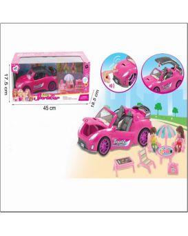 Машина на батарейке, звук, открывается крыша, мебель, куколки, в коробке 45х18,5х17,5 см