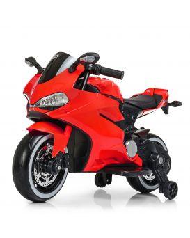 Мотоцикл 2 мотора 25W, аккум. 12V/7AH, кожаная сидин., кол. EVA, MP3, TF, USB, красный, 99х44х63 см