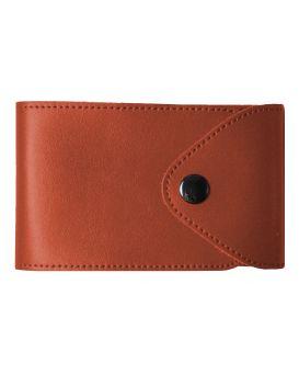 Визитница на 48 визиток формат 80 х 120 мм «Sarif» красно - коричневая, закругленные углы