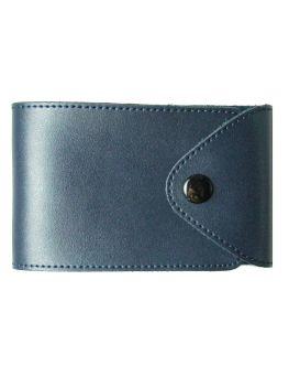 Визитница на 48 визиток формат 80 х 120 мм «Sarif» синяя, закругленные углы