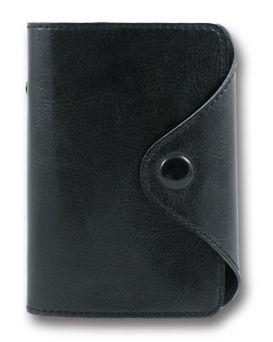 Визитница на 24 визитки формат 90 х 110 мм «Sarif» черная, закругленные углы