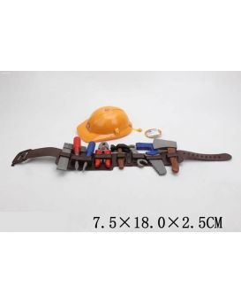 Набор инструментов молоток, пила, ключ, отвертка, каска, в пакете 18х7,5х2,5 см