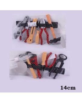 Набор инструментов клещи, плоскогубцы, молоток, отвертка, в сетке 14 см