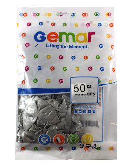 Шарики воздушные 33 см, серебряные, хромированные, 50 шт. в уп., Gemar