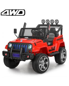 Джип на радиоуп., 2,4G, 4 мотора 45W, 2 аккум. 12V/7AH, колеса EVA, кож. сид., красный, 122х67х79 см