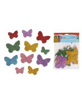 Наклейки с глитером «Бабочки» 12 шт. в упаковке, EVA.
