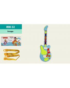 Гитара 55х17,5х3 см, на батарейке, свет, звук, в коробке 56х6х25,5 см