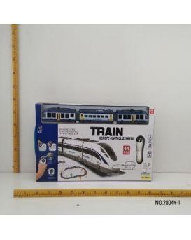 Железная дорога на радиоуправлении, на батарейке, свет, звук, 44 элемента, в коробке 60x29x5 см