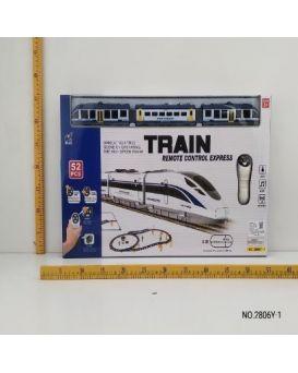 Железная дорога на радиоуправлении, на батарейке, свет, звук, 52 элемента, в коробке 60x35x5 см