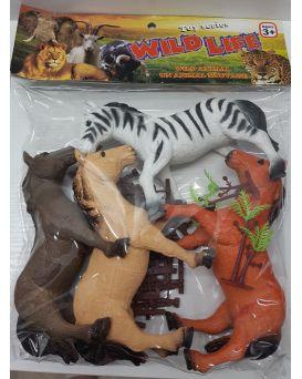 Животные «Дикие» 4 шт. и забор, в пакете 30 см