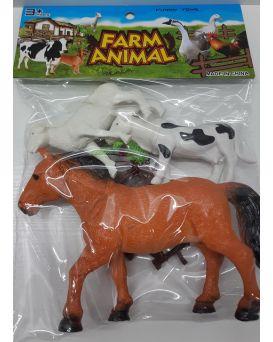Животные «Домашние» 3 шт. и забор, в пакете 30 см