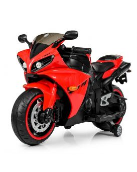 Мотоцикл 1 мотор 45W, 2 аккумулятора 6V4, 5AH, USB, TF, музыка MP3, свет, кожаное сидение, красный