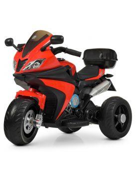 Мотоцикл 2 мотор 35W, 2 аккумулятора 6V4, 5AH, USB, TF, музыка MP3, свет, кожаное сидение, красный