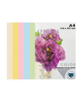 Бумага цветная А4 50 листов, 160 гр/м2, пастель микс, 5х10 «Rainbow Pack Light» SPECTRA COLOR