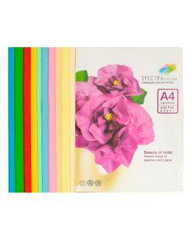Бумага цветная А4 100 листов, 160 гр/м2, супер микс, 10х10 «Rainbow Pack» SPECTRA COLOR